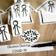 stick figure paper cut outs of people in different houses showing the Economic Impact of COVID-19 on Divorce